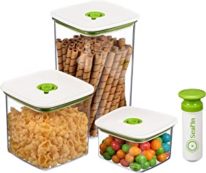 Seal'In Food Storage Vacuum Containers - Set of 3 - Vacuum Sealed, Microwavable and Dishwasher Safe. (Green)