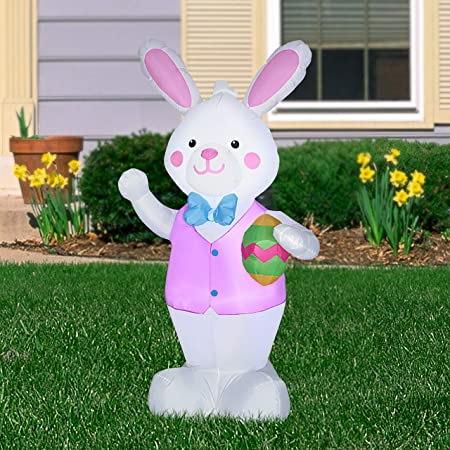 Gemmy Prototype 7/' Lighted ANIMATED Easter Bunny Slide EGG Airblown Inflatable