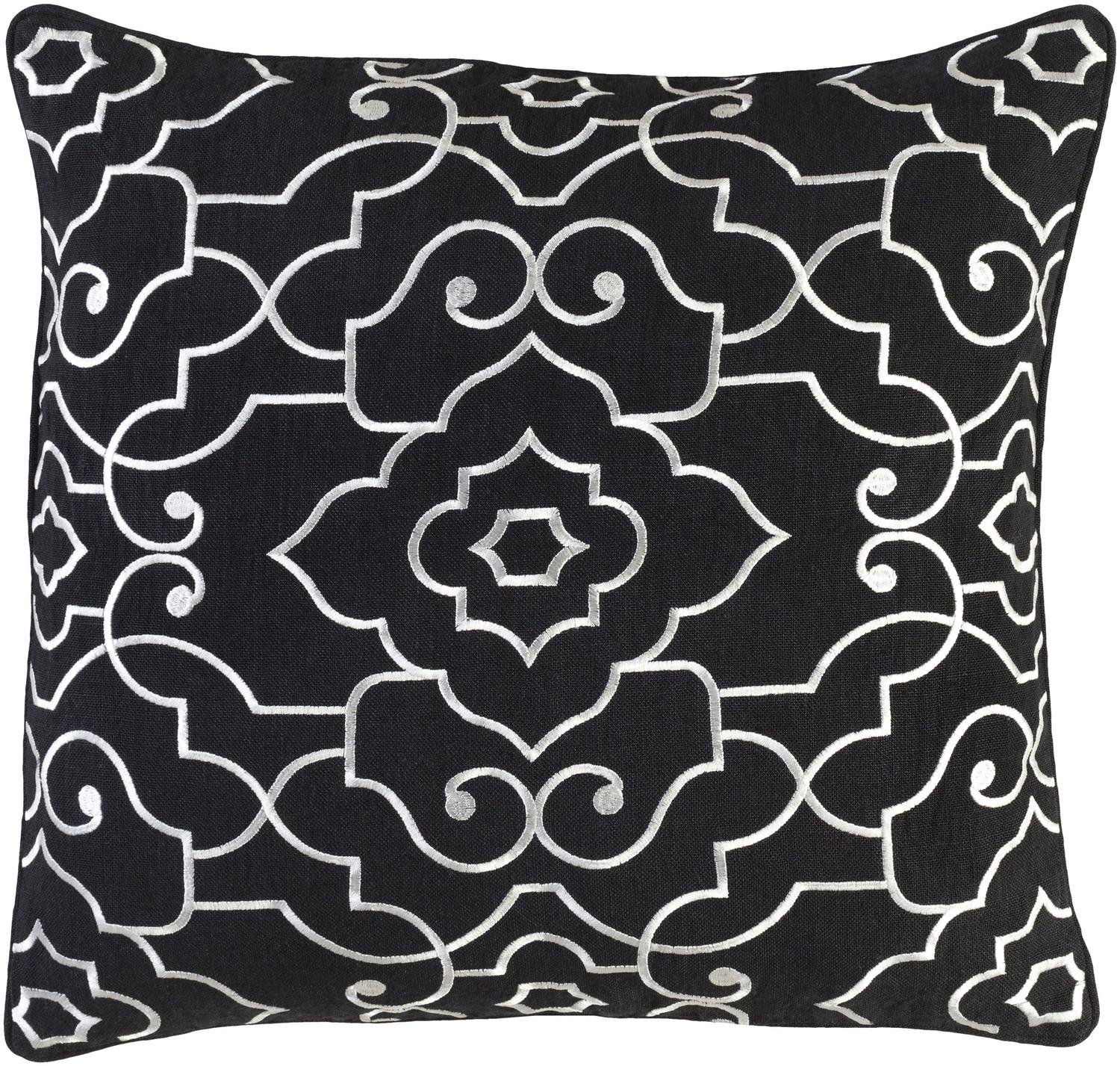 20'' Licorice Black and White Woven Decorative Throw Pillow – Down Filler