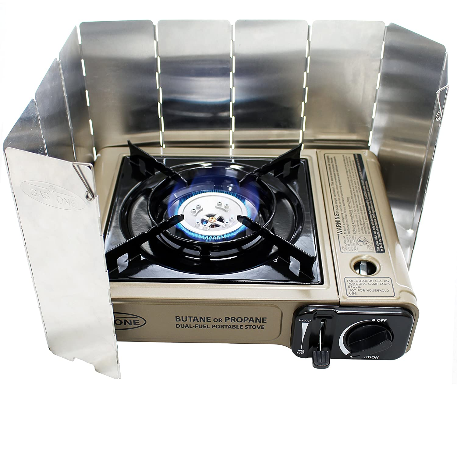 Gas ONE New GS-3400P with 10 Plate WindScreen , Dual Fuel Portable Propane Butane Camping and Backpacking Gas Stove Burner with Carrying Case