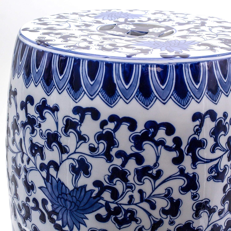 Blue Garden Decorative Lotus Drum Stool Multi Color Oriental Porcelain Handmade