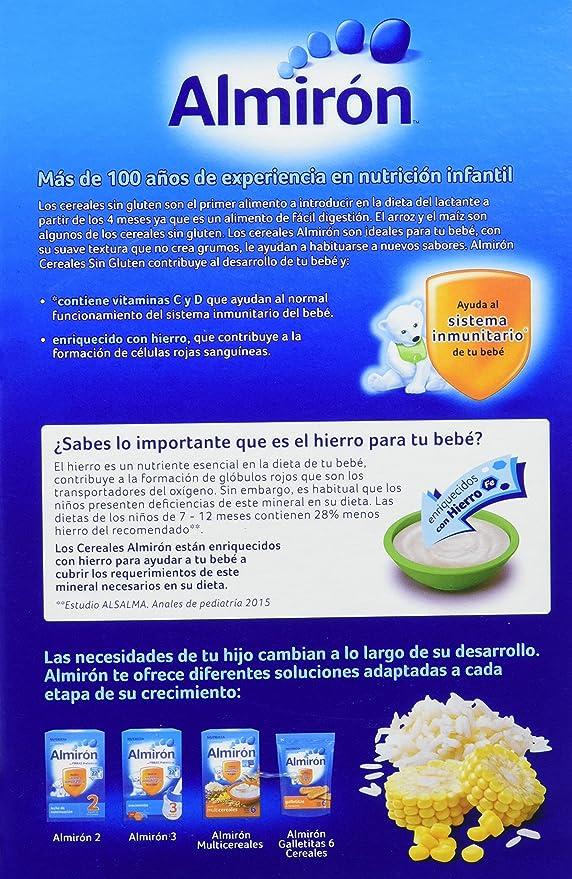 Almirón Papilla de cereales sin gluten a partir de 4 meses - Paquete de 3 x 500 g - Total: 1500 g