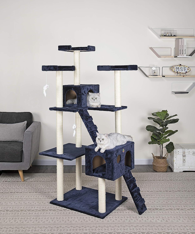 Go Pet Club Cat Tree, 50W x 26L x 72H, Blue : Pet Supplies