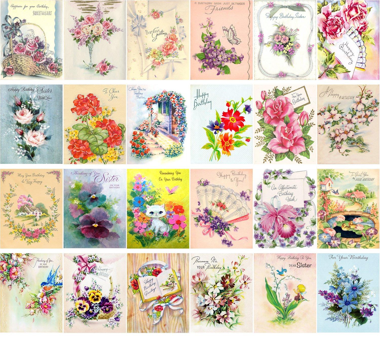 Vintage Greeting Cards 24pcs Happy Birthday Flowers Roses REPRINT Carte Postale