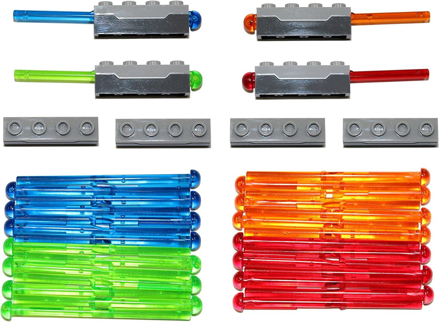 LEGO Parts and Pieces: Gray 1x4 Spring-Loaded Dart Shooter with Ammo x8