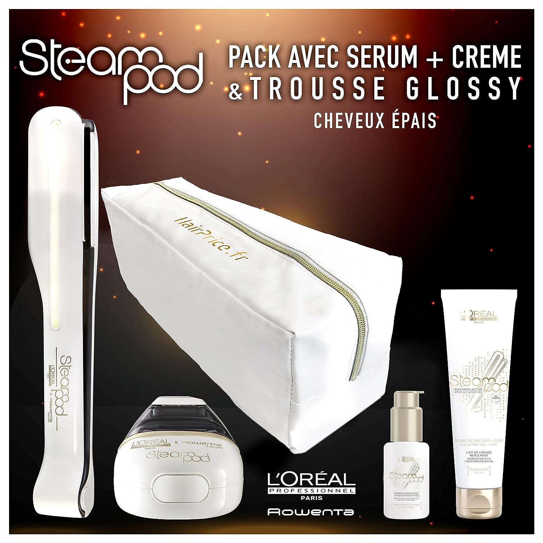 LOreal - Pack de plancha de vapor para el pelo Steampod 2.0 con sérum, loción alisadora para cabello grueso y neceser de almacenamiento: Amazon.es: Salud y ...