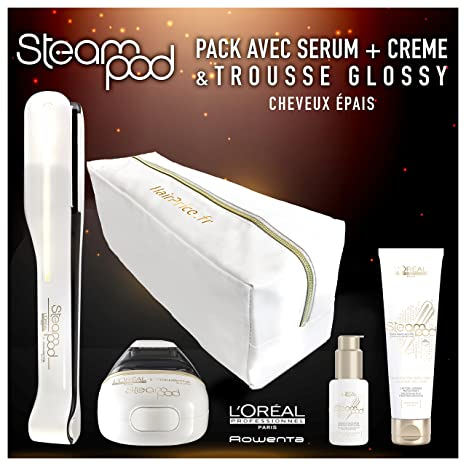 LOreal - Pack de plancha de vapor para el pelo Steampod 2.0 con sérum, loción alisadora para cabello grueso y neceser de almacenamiento