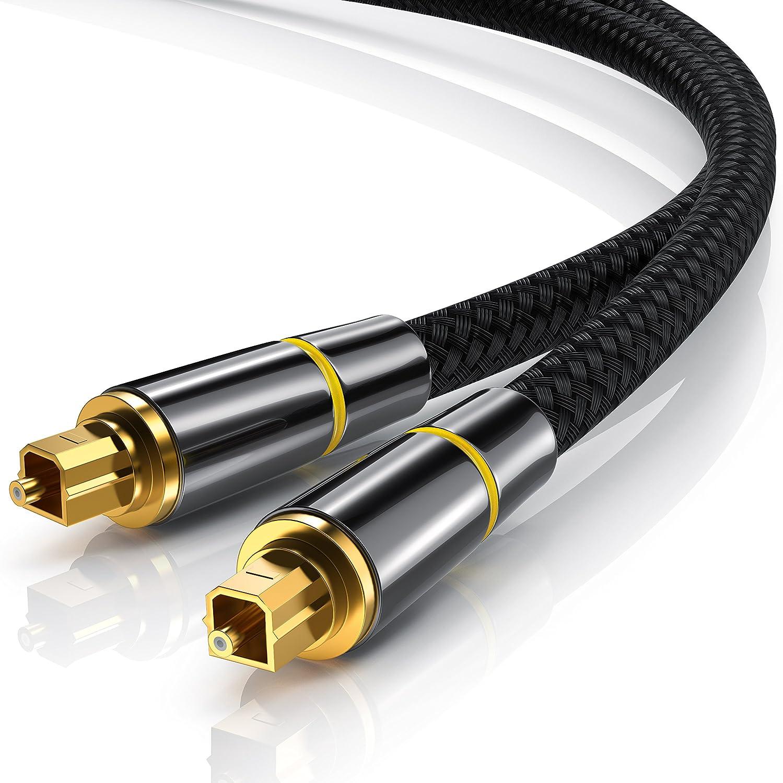 CSL - 1m Metro Cable Toslink HQ Platinum óptico Digital - Conectores Toslink - Cable de Fibra óptica - Conector HQ de Metal con contactos chapados en Oro