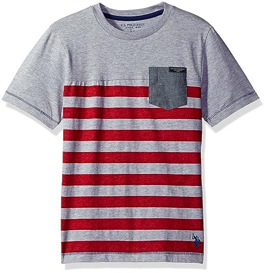 ec43a0d35 Amazon.com: U.S. Polo Assn. Boys' Big Short Sleeve Striped Crew Neck ...