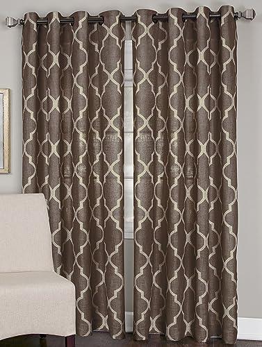 Elrene Home Fashions 26865775808 Grommet Top Linen Look Single Panel Window Curtain Drape, 52 x 120 , Mocha