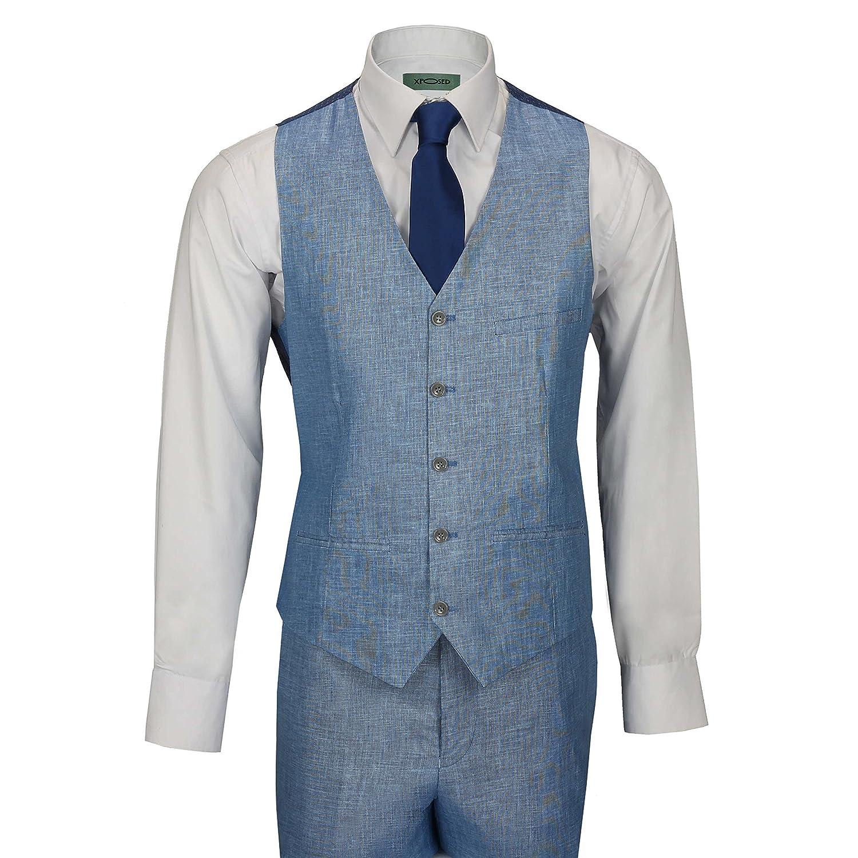 XPOSED Mens 3 Piece Linen Suit Sky Blue Cotton Blend Retro Tailored ...