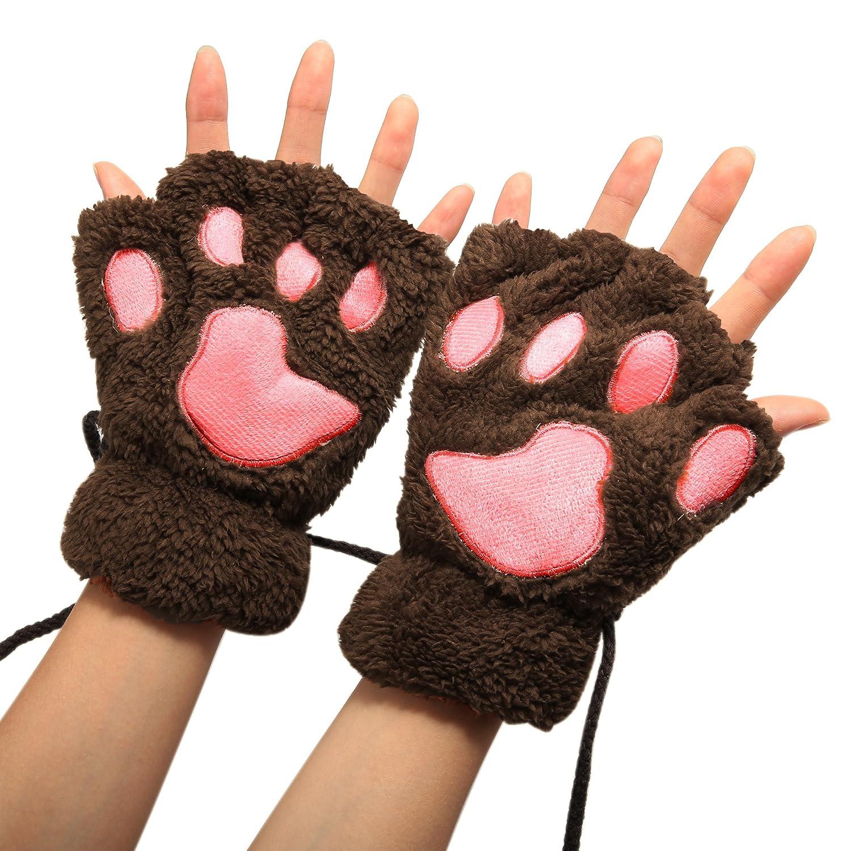 Arshiner Women Bear Plush Cat Paw Claw Glove Soft Winter Gloves Fingerless Gloves **AM001656_LC