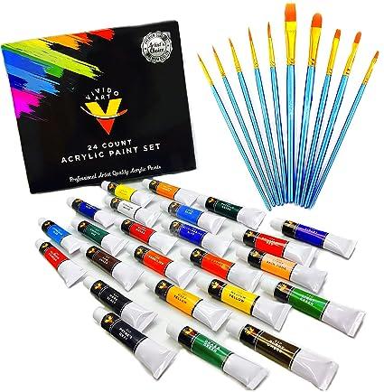 amazon com acrylic paint set 24 colors bonus 10 acrylic paint