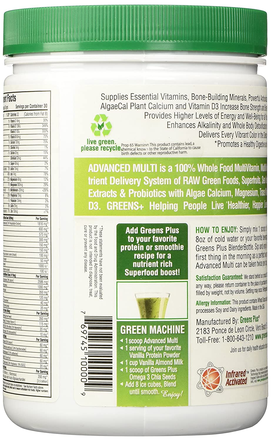 Amazon.com: GREENS PLUS Greens Plus Powder, 9.4 OZ: Health & Personal Care