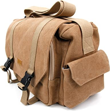 Compatible with EasyACC Sound Cup DURAGADGET Tan-Brown Large Sized Canvas Carry Bag with Multiple Pockets /& Customizable Interior Compartment