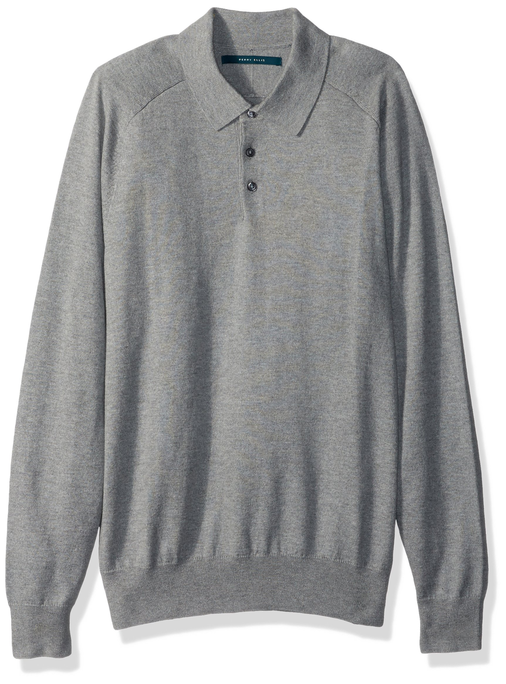 Perry Ellis Men's Solid Polo Sweater, Smoke Heather, Extra Large