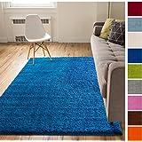 Solid Retro Modern Dark Blue Shag 3x5 (3'3'' x 5'3'') Area Rug Plain Plush Easy Care Thick Soft Plush Living Room Kids Bedroom
