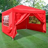 Airwave ESC Ltd 3x3mtr Pop Up Waterproof Gazebo in in Red with 2 WindBars and 4 Leg Weight Bags