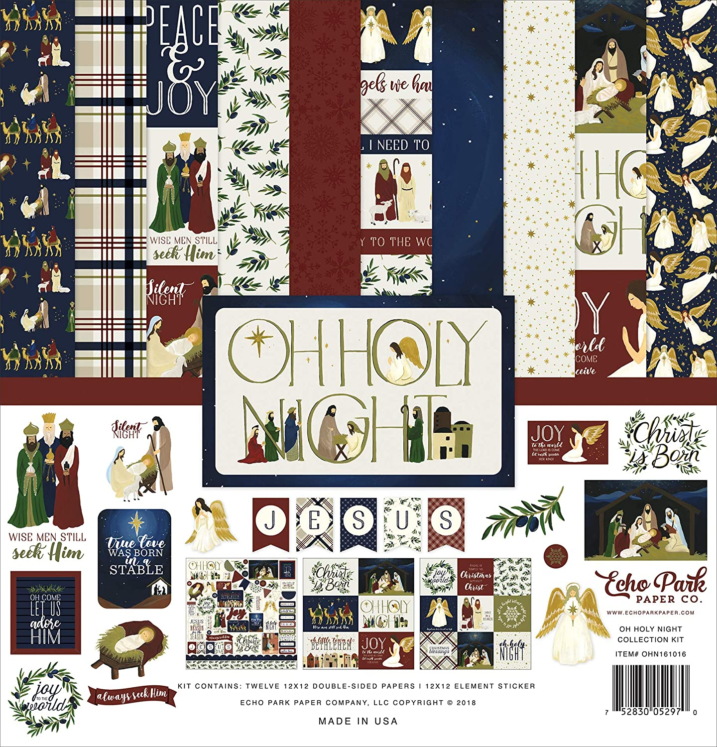 Echo Park Paper Company OHN161016 Oh Holy Night Collection Kit, red, Green, tan, Gold, Navy
