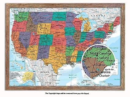 Map Of Usa With Pins.Amazon Com Framed Usa Map Matt Laminated Push Pin Memo