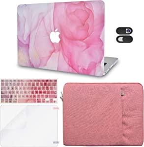 LuvCase 5in1 LaptopCase Compatible with MacBook Air 13 Inch (Touch ID)(2018-2020) A1932 Retina DisplayHardShell Cover,Sleeve,Webcam Cover,Keyboard Cover,Screen Protector (Rose Marble)
