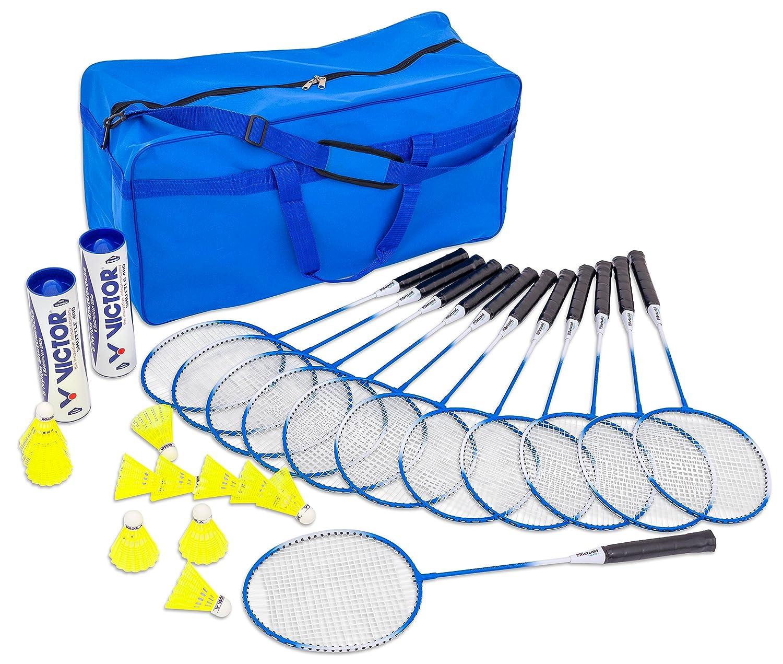 Betzold Sport 35882 - Badminton-Set mit Tasche, 12 Badminton-Schlä ger, 12 Top-Bä lle - Federball-Set Federball-Spiel
