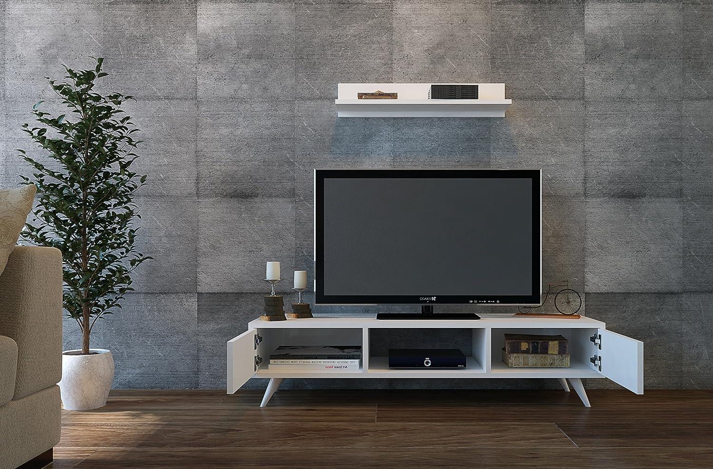 Homidea Aspen Wohnwand - Weiß Weiß Weiß - TV Niedrigboard mit Wandregal in modernem Design 1e408f