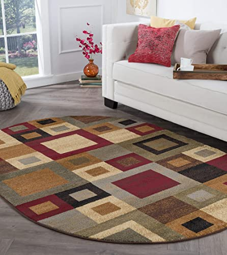 Jamie Contemporary Abstract Multi-Color Oval Area Rug