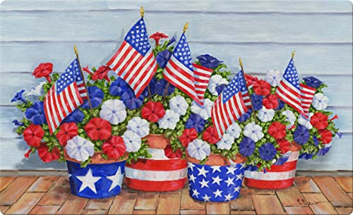 Toland Home Garden Patriotic Pansies 18 x 30 Inch Decorative Flower Floor Mat America USA Doormat