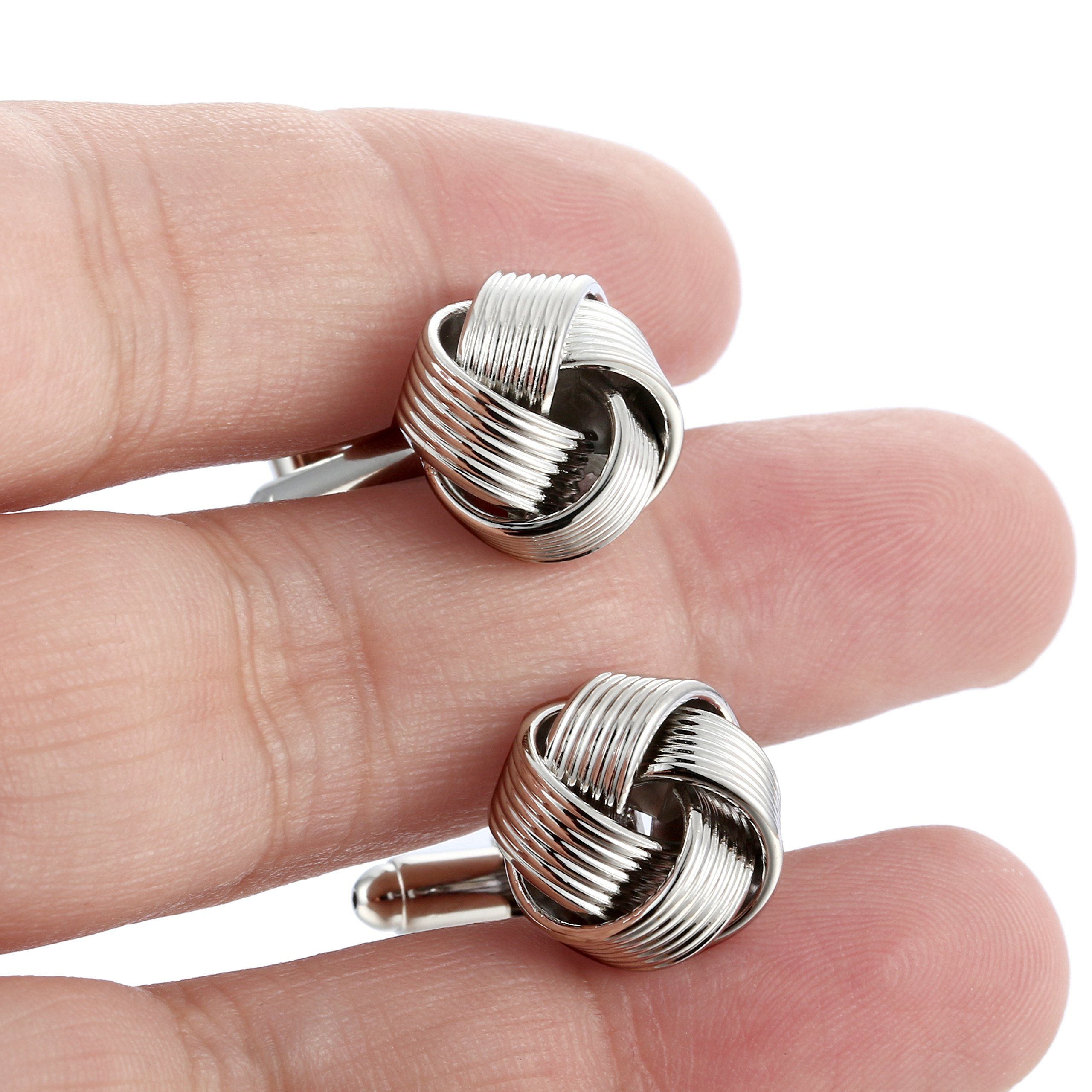 Jstyle Knot Cufflinks for Men Shirt Cufflinks Black Silver Tone Unique Business Wedding by Jstyle (Image #6)