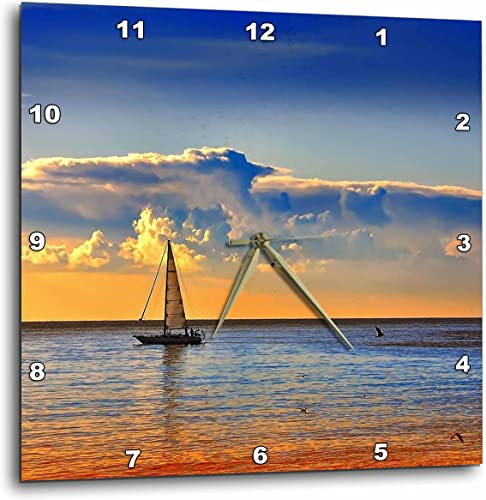 3dRose Image of Sailboat and Birds Against Orangey Blue Sunset – Wall Clock, 13 by 13-Inch DPP_223448_2