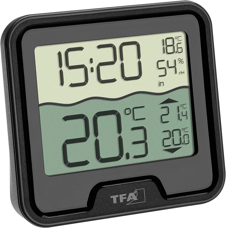TFA Dostmann Marbella - Termómetro inalámbrico para Piscina, Color Negro