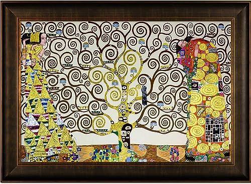 La Pastiche The Tree Of Life, Stoclet Frieze, 1909 Metallic Embellished Artwork By Gustav Klimt With Veine D Or Bronze Scoop Frame