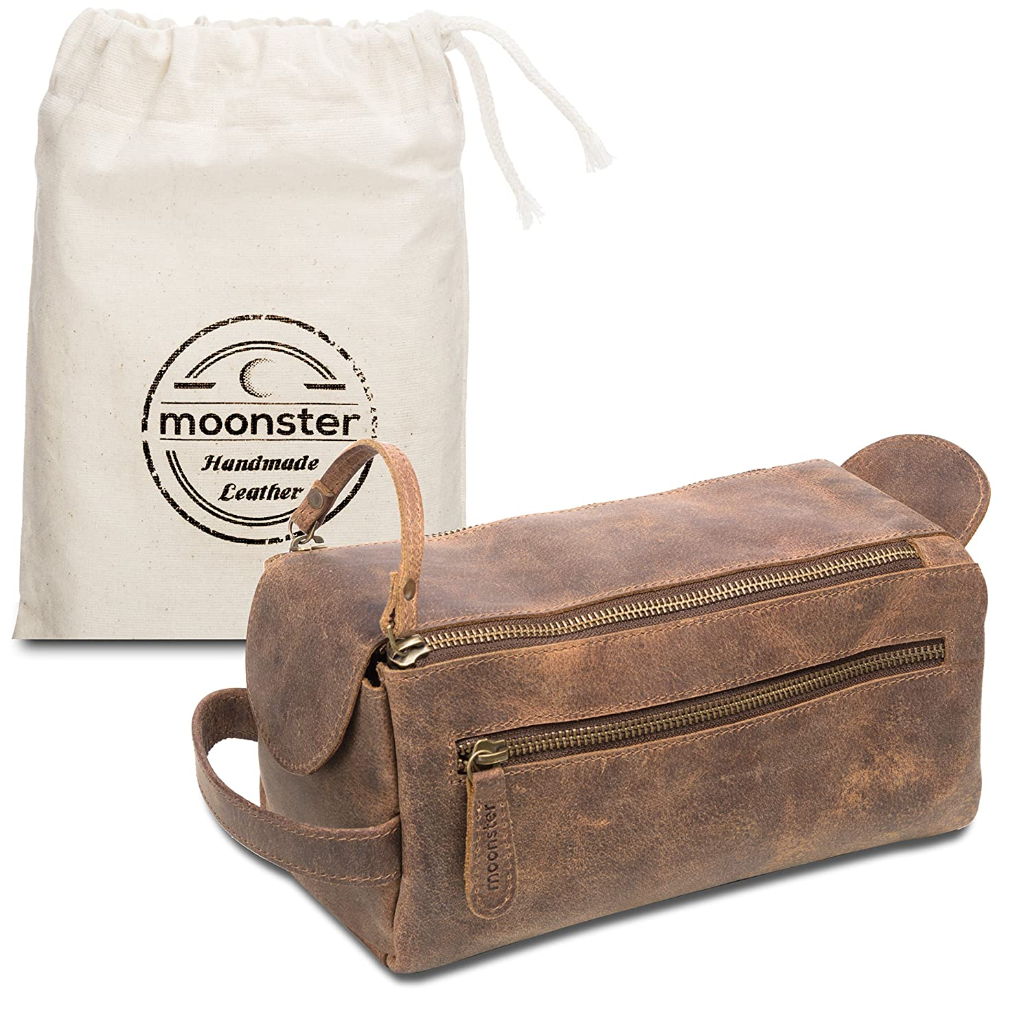 Leather Toiletry Bag for Men & Women - Stylish, Practical and Thicker Than Other Bags - This Handmade Vintage Dopp Kit is Small, Sturdy and Water Resistant - Store All Your Travel Toiletries in Style