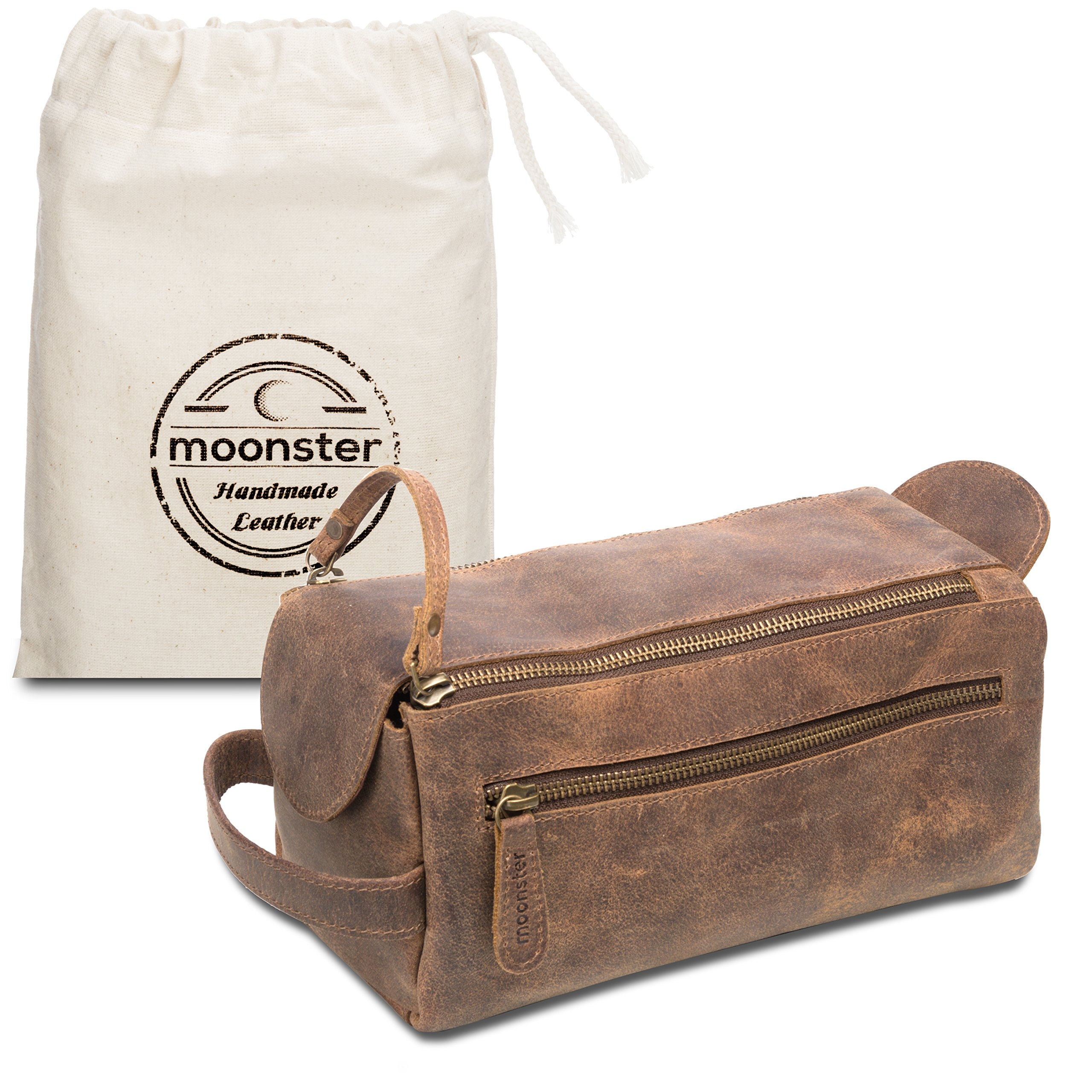 Leather Toiletry Bag for Men - Stylish, Practical and Thicker Than Other Bags - This Handmade Vintage Mens Dopp Kit is Small, Sturdy and Water Resistant - Store All Your Travel Toiletries in Style by moonster