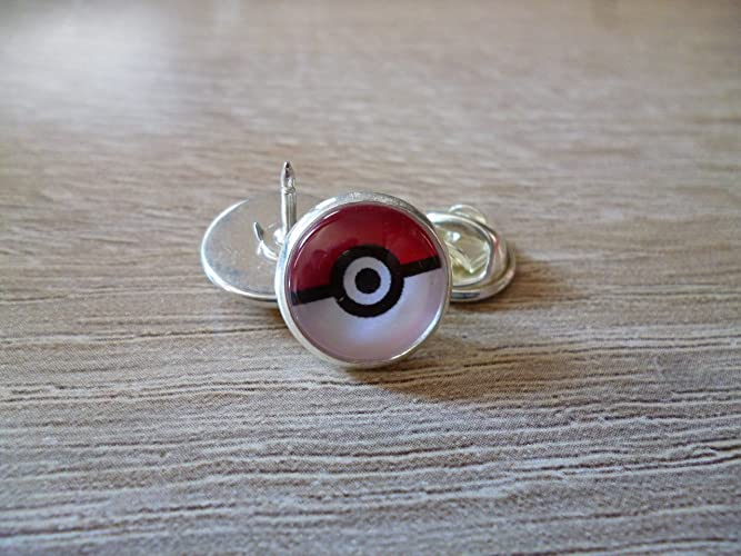 Brooches / pins / pins - pokeball - pokemon- Cabochon 12 mm ...