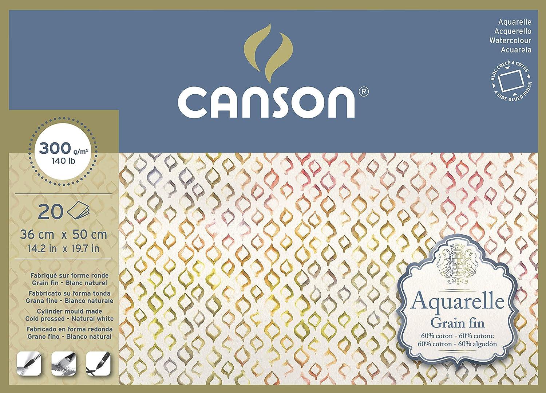 Aquarelle Canson Bloc de 20 feuilles coll/ées sur tout le pourtour 36 x 50 cm 300 g//m/² Grain fin
