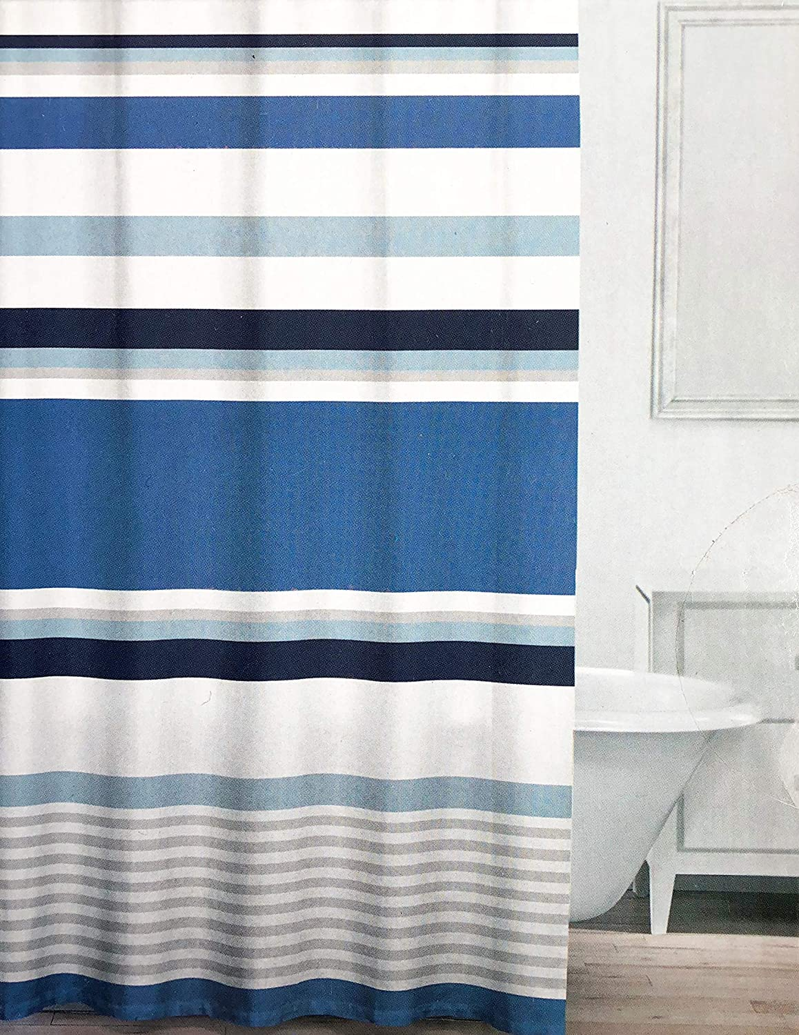 Caro Fabric Shower Curtain Horizontal Stripes in Shades of Blue and Gray on White - Chelsea, Denim