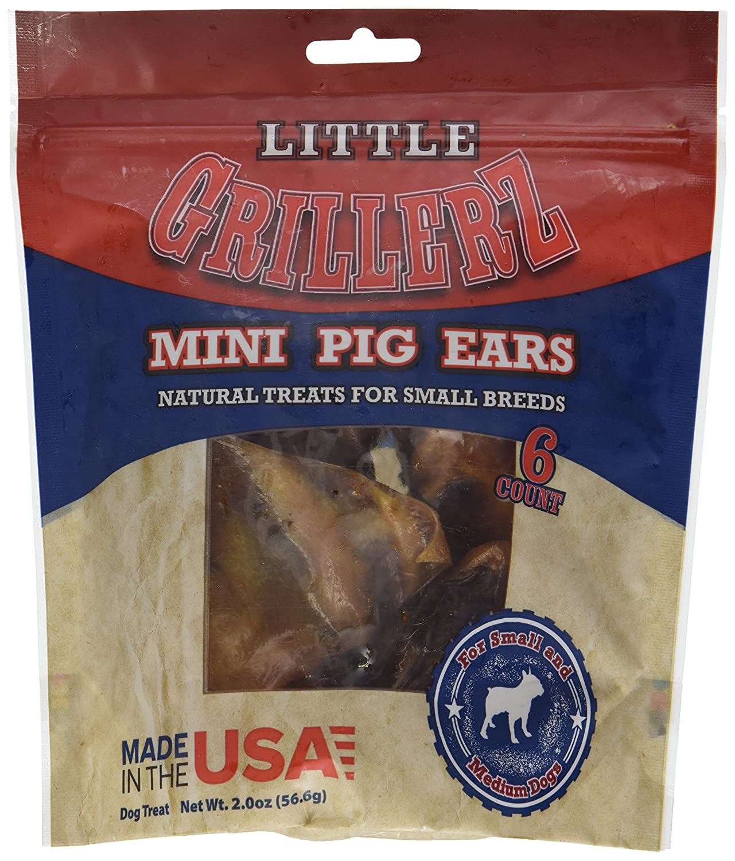Little Grillerz Mini Pig Ears, Small & Medium 6Ct