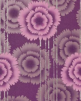 papel pintado de diseo flores retro edem 056 24 aos 70 morado fucsia plata