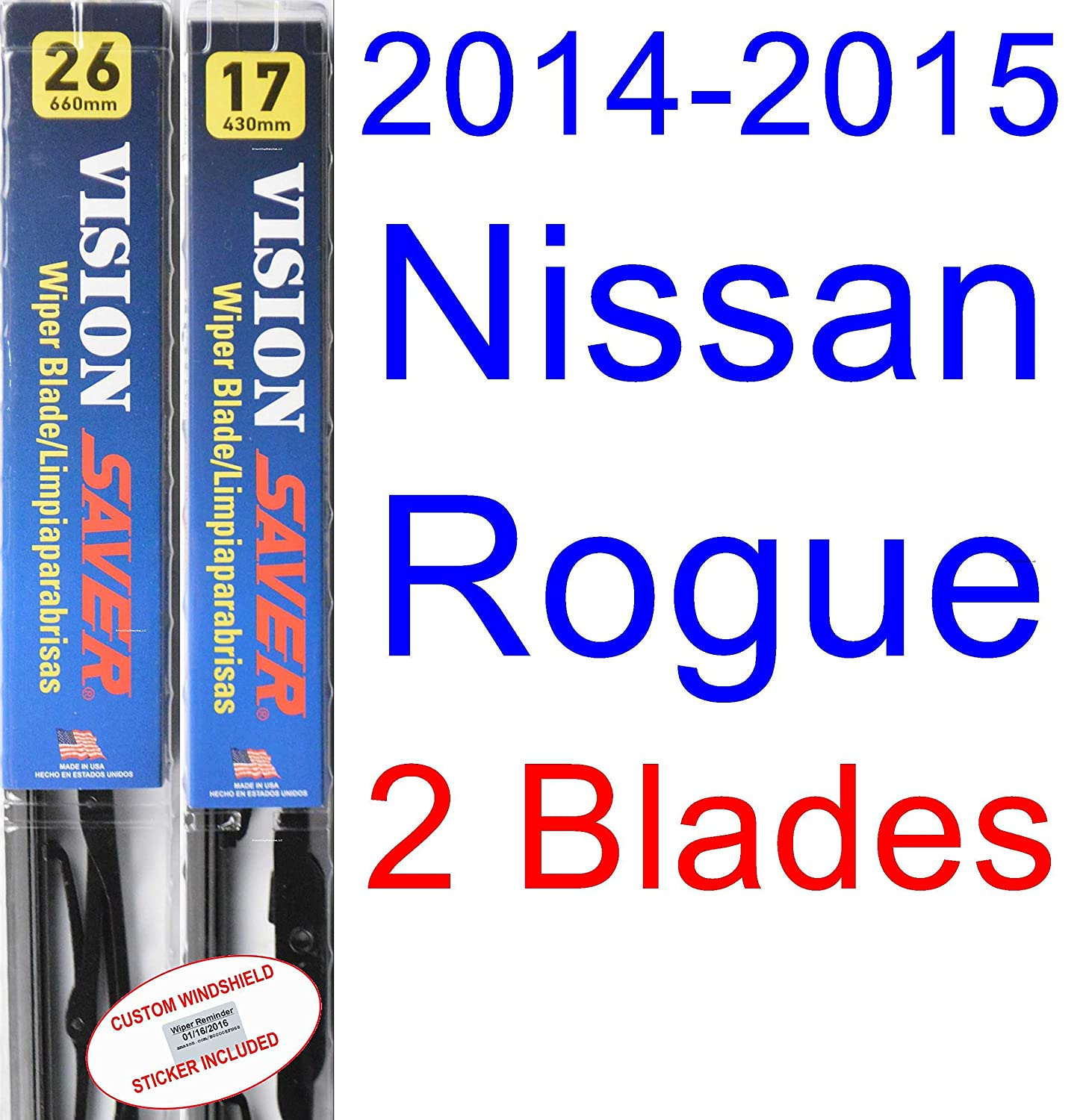 Amazon.com: 2014-2015 Nissan Rogue Wiper Blade (Driver) (Saver Automotive Products-Vision Saver): Automotive