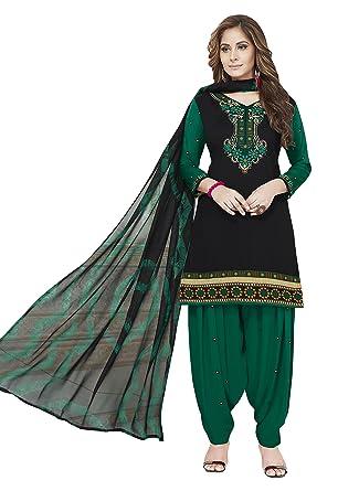 Roha Fab 100 Synthetic Colorfull Black Dark Green Combination