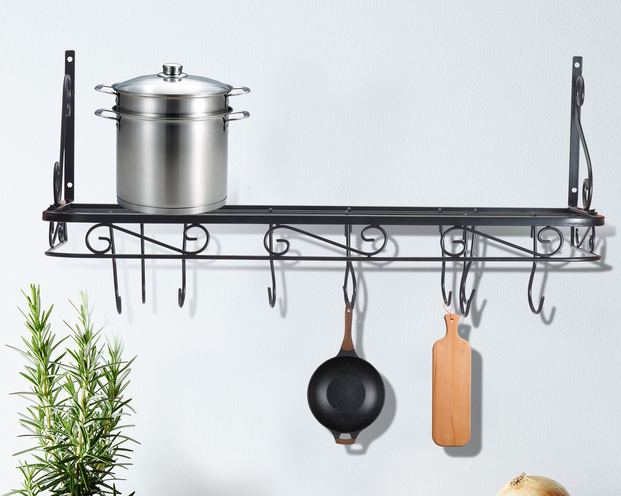 racks saucepan decoration lights pans with holder pot rack large pan grid cooking shelf cover hanger copper kitchen wall hooks for black and pots mounted hanging bakers