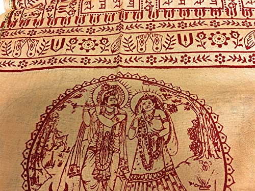 Krishna Om Yoga Meditation Prayer Indian Cotton Shawl Scarf Altar Cloth Tapestry Beige, Large 40 x 88