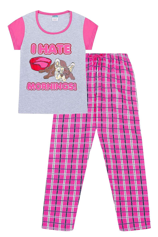 I Hate Mornings French Bulldog Long Woven Bottoms Ladies Pyjamas