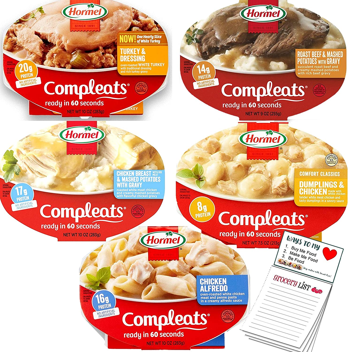 Hormel Compleats Ready to Eat Meals Variety Pack of 5 | Microwavable Ready Meals | Packaged Meals Ready in 60 Seconds | Snack Fun Shopping Pad