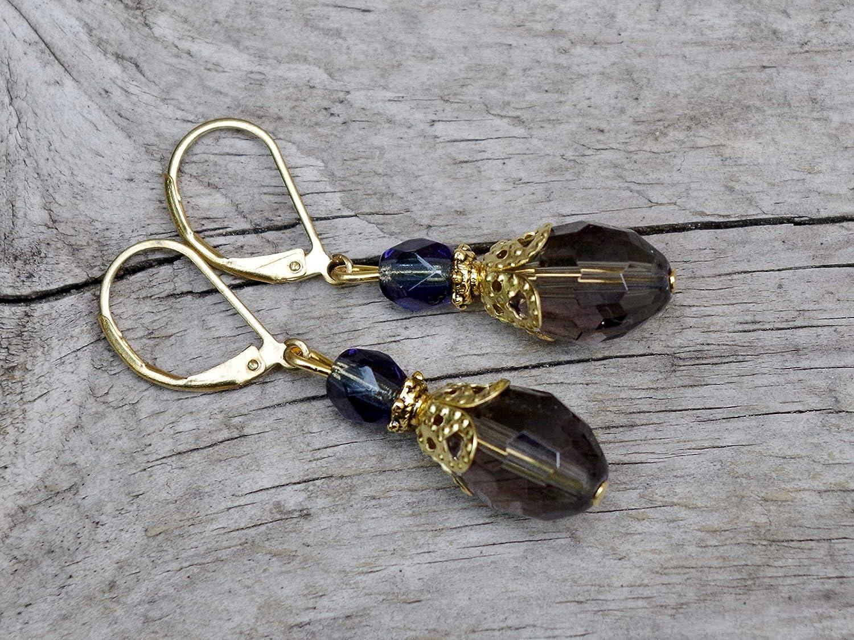 NEU grau stahlblau /& gold Vintage Ohrringe mit b/öhmischen Glasperlen
