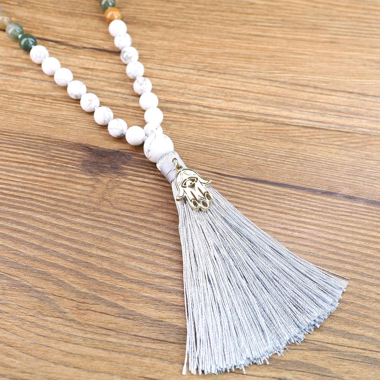 COAI Mala 108 Perle Annodate a Mano Una ad Una in Pietre Naturali con Nappa Alite Agata