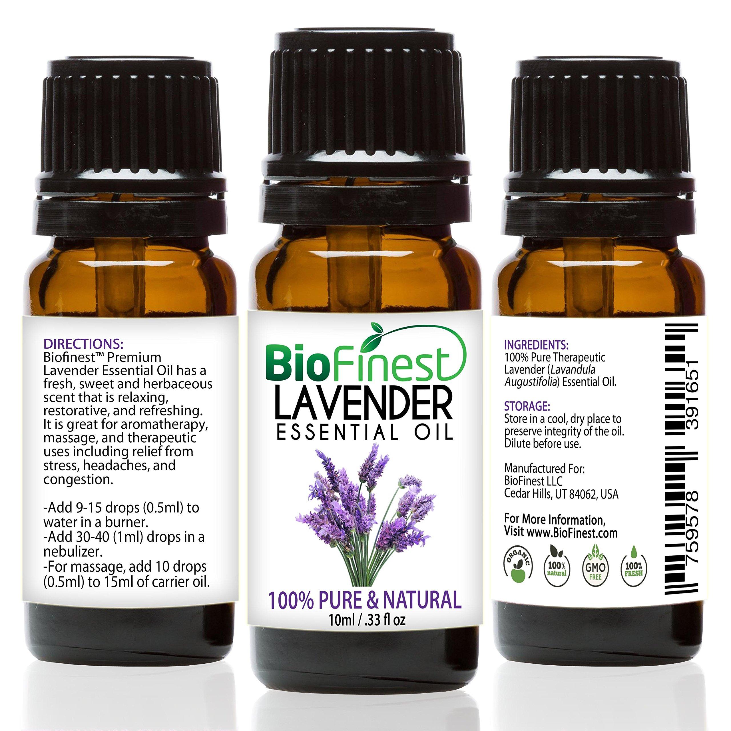 BioFinest Lavender Oil - 100% Pure Lavender Essential Oil - Therapeutic Grade - Bulgaria Premium Quality - Best For Aromatherapy, Diffuser, Massage, Anxiety & Stress Relief - FREE E-Book (10ml)