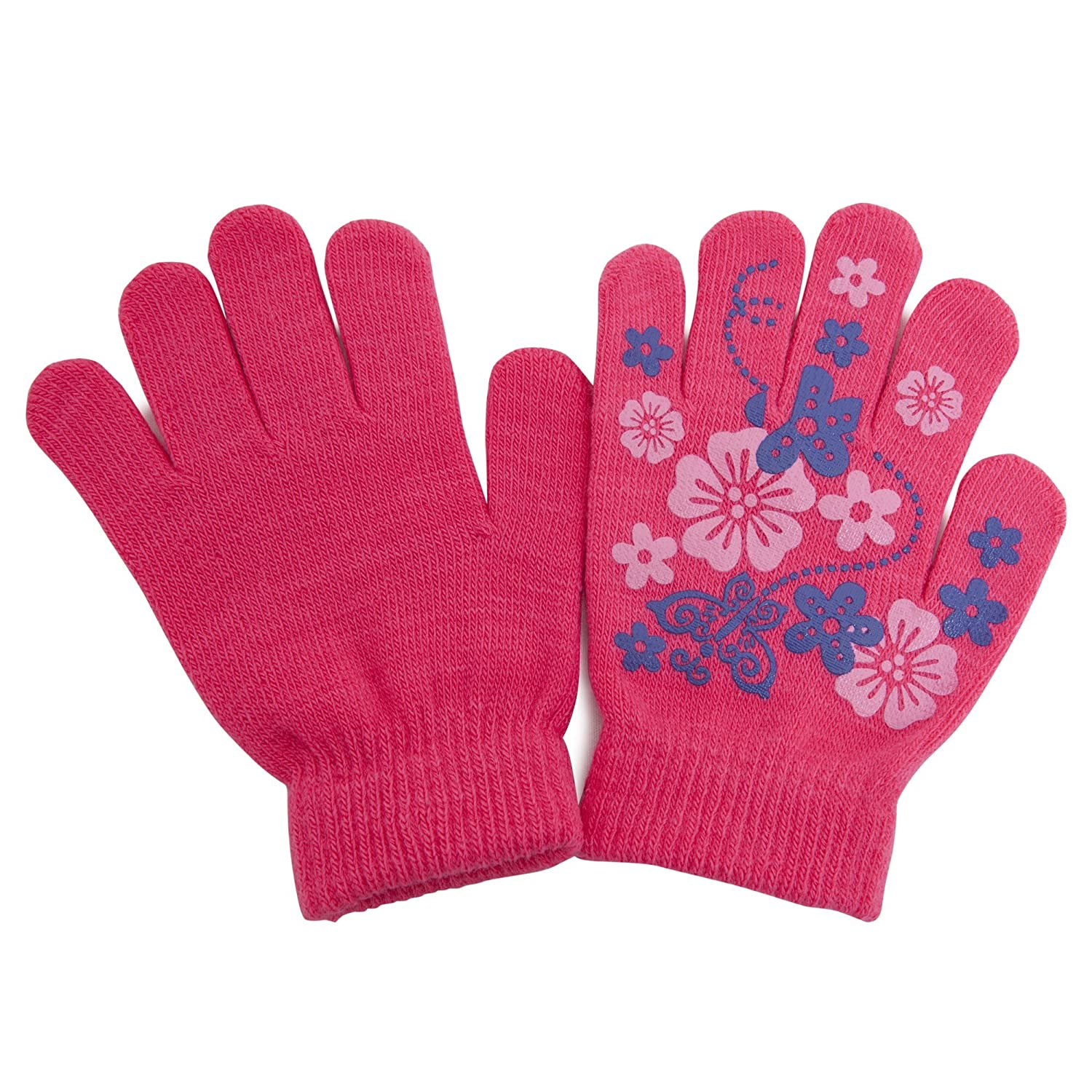 Girls Fun Winter Magic Gloves with Rubber Print (Up to 12 years) (Pink) UTGL473_1
